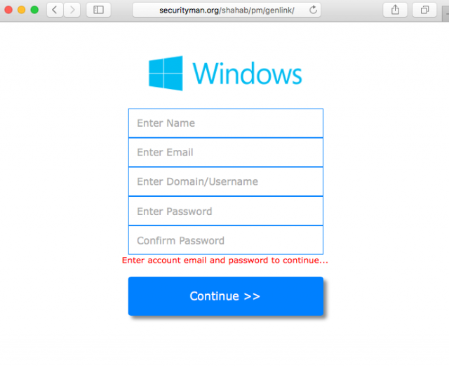 phishing screen shot of fake login form