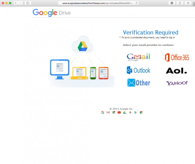 Image of fake Google login page.