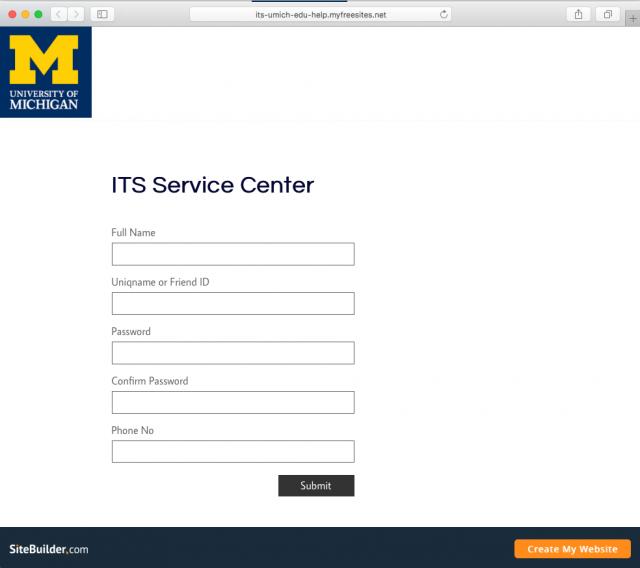 A fake U-M login page is shown.