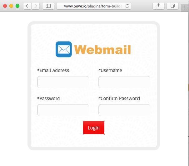 Fake login page is presented in the message.