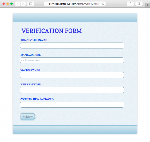 Fake verification form is presented by the link.