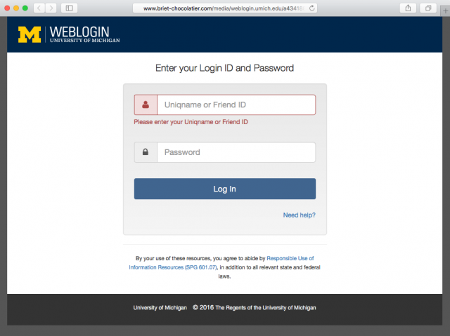 Fake U-M login page is presented by the link.