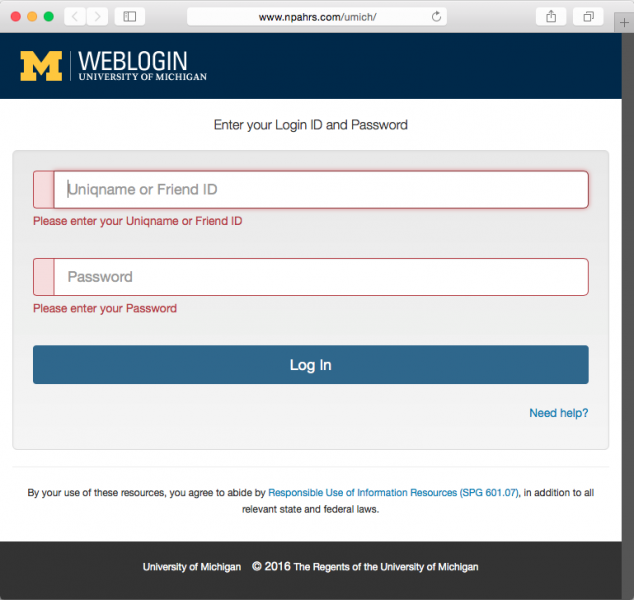 Link directs to a fake U-M login page.