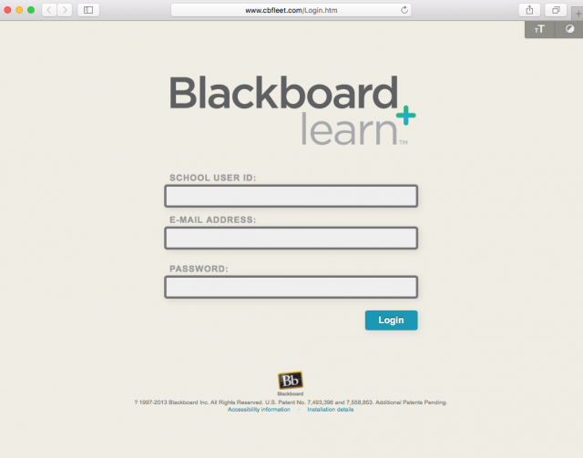 Fake Blackboard login page is presented by the link.