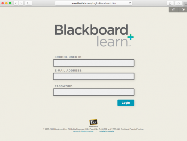 Fake Blackboard login screen is presented by the link.