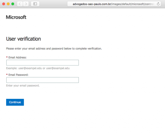 A fake Microsoft user verification page is presented by the link.