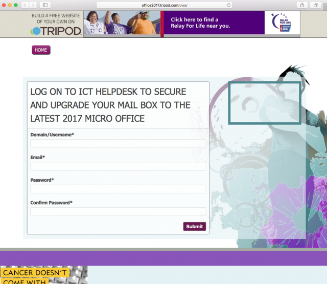 A fake help desk login page is presented by the link.