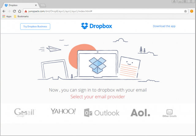 A fake Dropbox or Google login page is presented by the link.