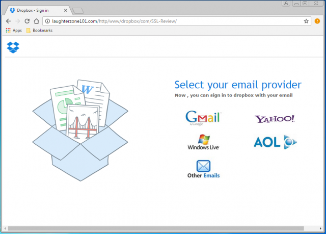 A fake email login page is presented by the link.