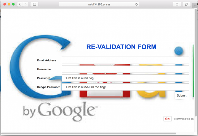 A fake login or validation page is presented by the link.