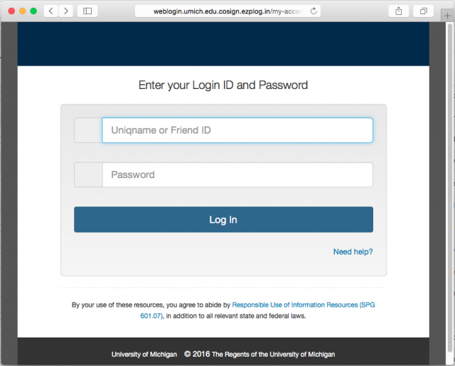 A fake University of Michigan login page is presented by the link.