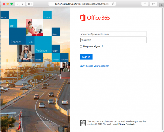 A fake Office 365 login page is presented by the link.