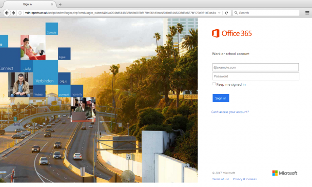 A fake Office login page is presented by the link.