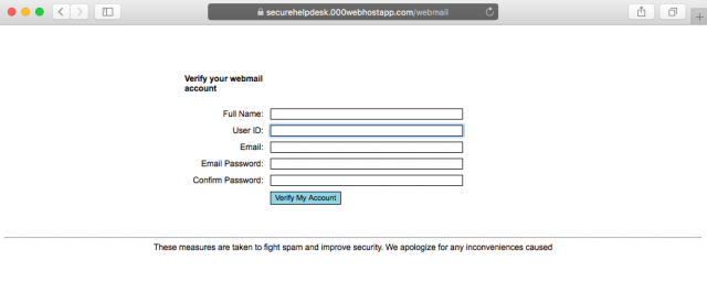 A fake login form is presented by the link.
