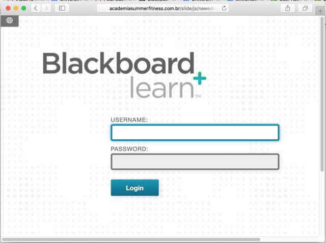 A fake black board login is presented by the link.