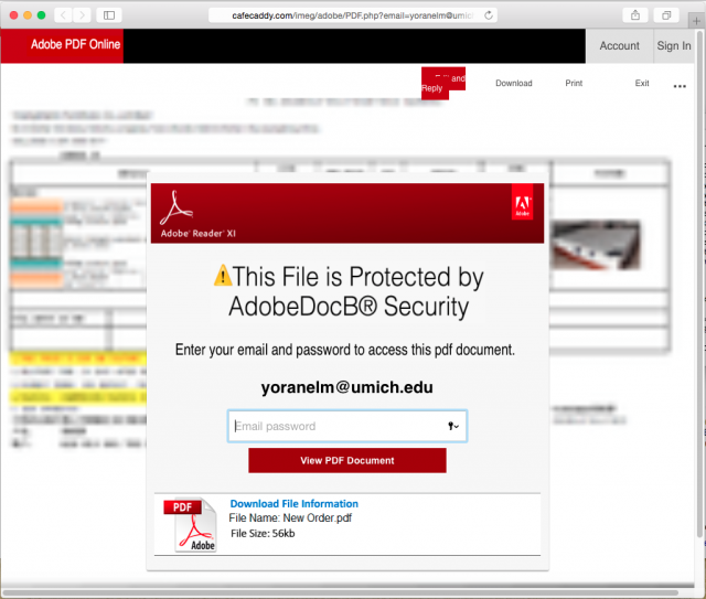A fake Adobe security login is presented by the link.