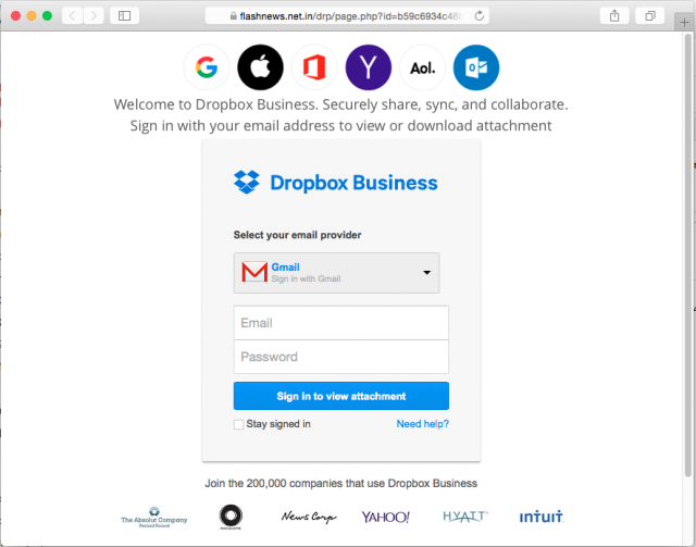 A fake Drop Box login page is presented by the link.