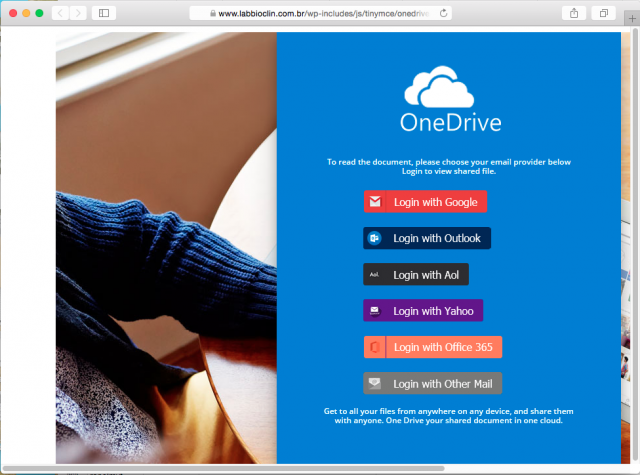 A fake One Drive login is presented by the link.