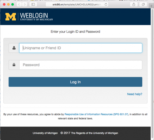 A fake University of Michigan screen shot is presented by the link.