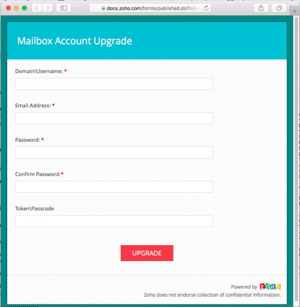 A fake login page is presented by the links.