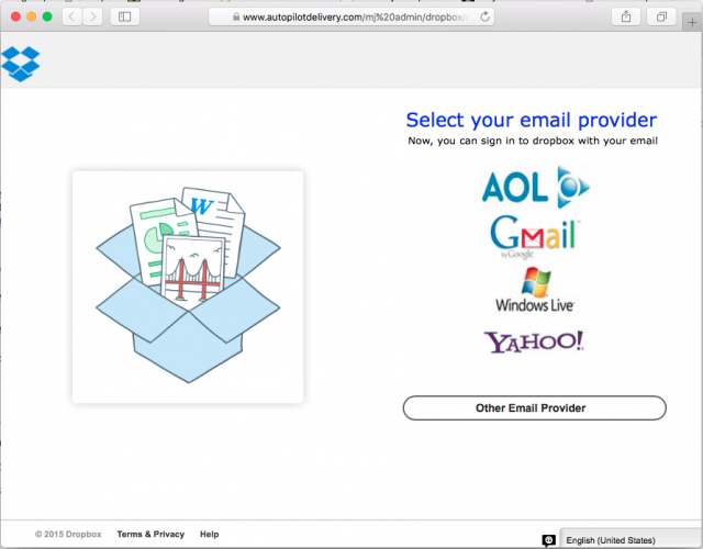 A fake login page is presented by the link in the email.