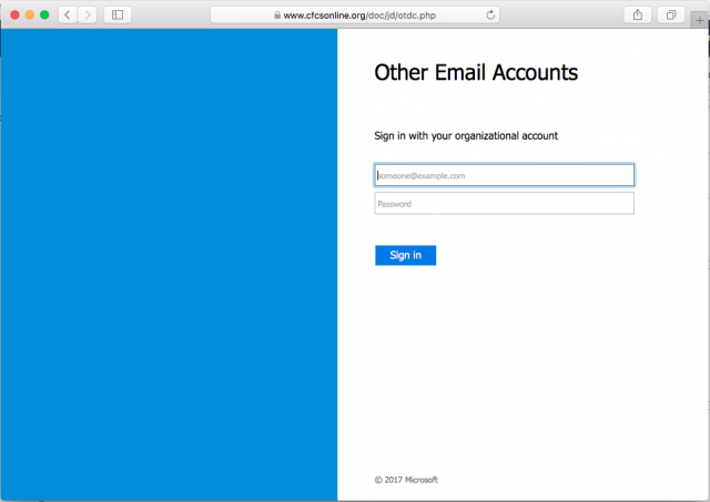 A fake Microsoft login page is presented by the link in the email.