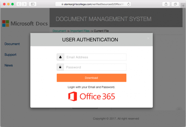 A fake Office 365 login is presented by the link in the PDF attached to this email.