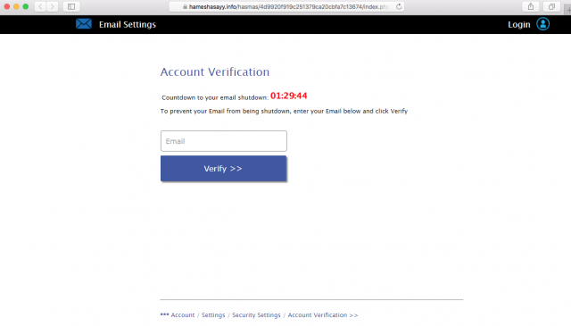 A fake verification window is presented by the link in the email.