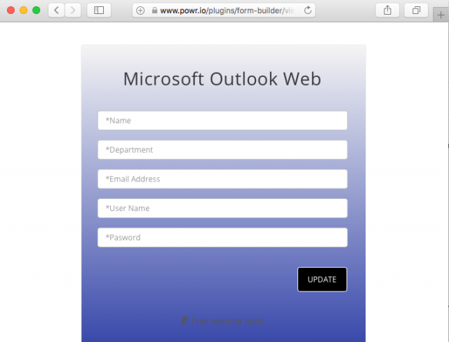 A fake Microsoft Outlook Web login is presented by the link in the phishing email.