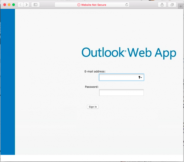 A fake Outlook login page is presented by the link in the phishing email.