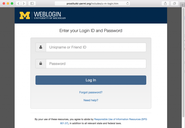 A fake U-M weblogin page is presented by the link in the phishing email.