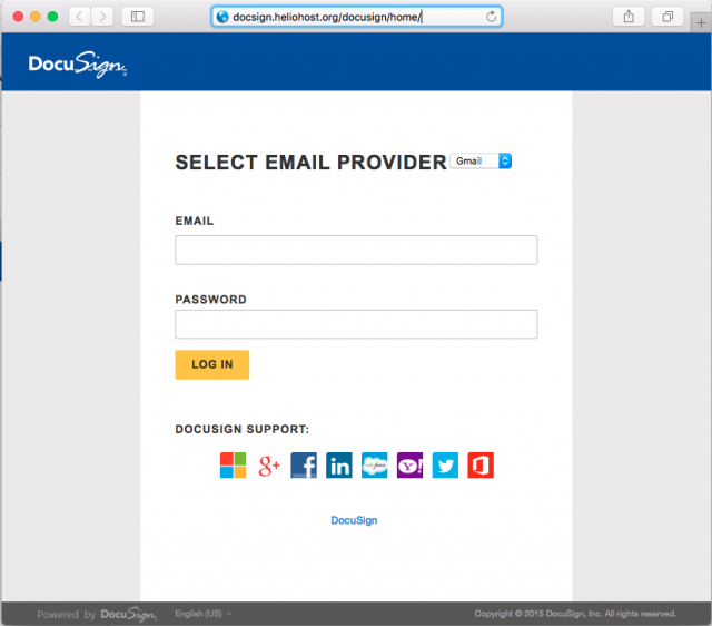 A fake login page is presented by the link in the phishing email.