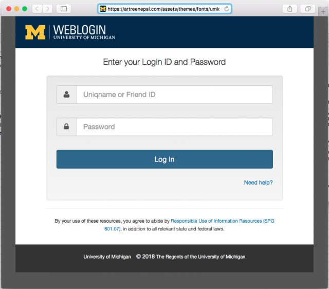 The link in the phishing email leads to a fake U-M login page.