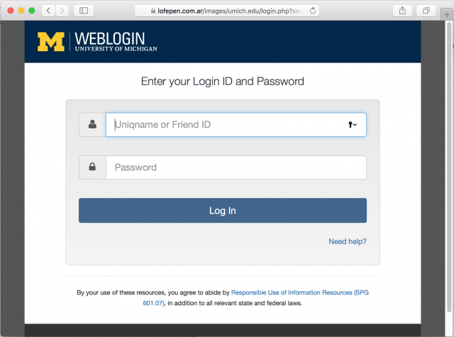 A fake University of Michigan login page is presented by the link in the phishing email.