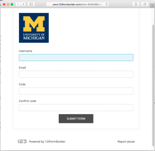 A fake U-M login page is presented by the link in the phishing email.