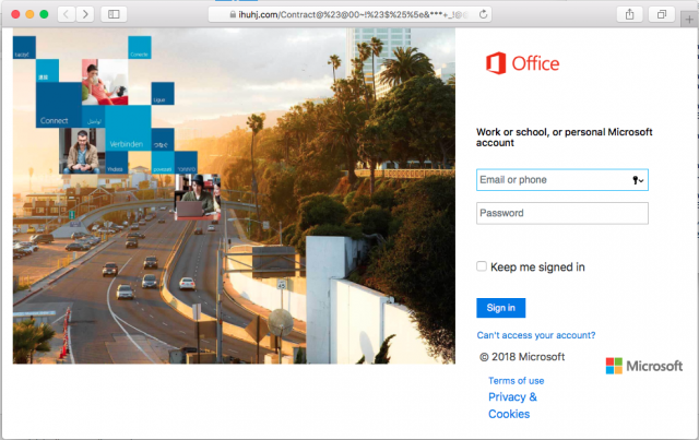 A fake Office 365 login site is presented by the link in the phishing email.