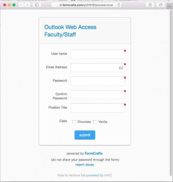 A fake outlook web access form is presented by the link in the phishing email.