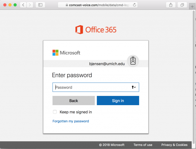 A fake Microsoft login page is presented by the link in the phishing email.