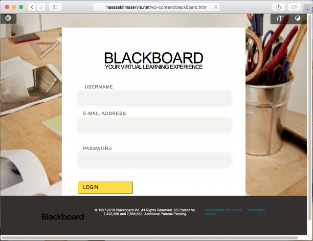 A fake Blackboard login page is presented by the link in the phishing email.