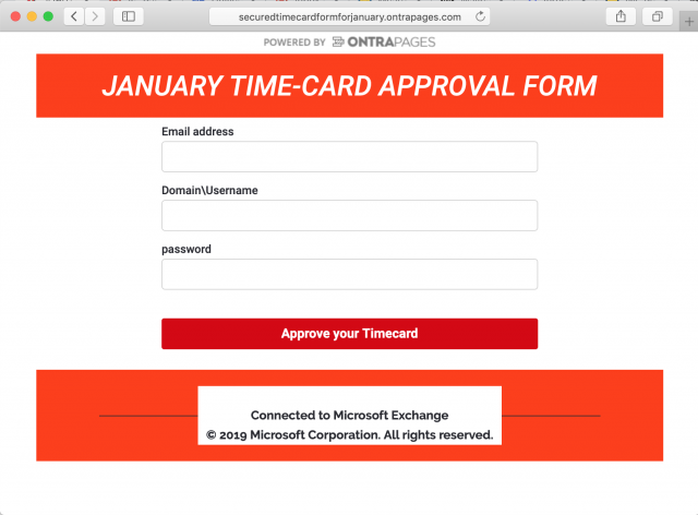 A fake time card login screen is presented by the link in the phishing email.