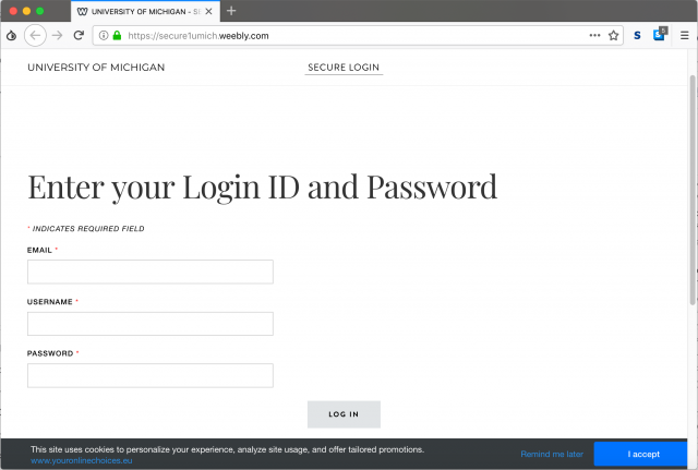 A fake University of Michigan login site is presented by the link in the phishing email.