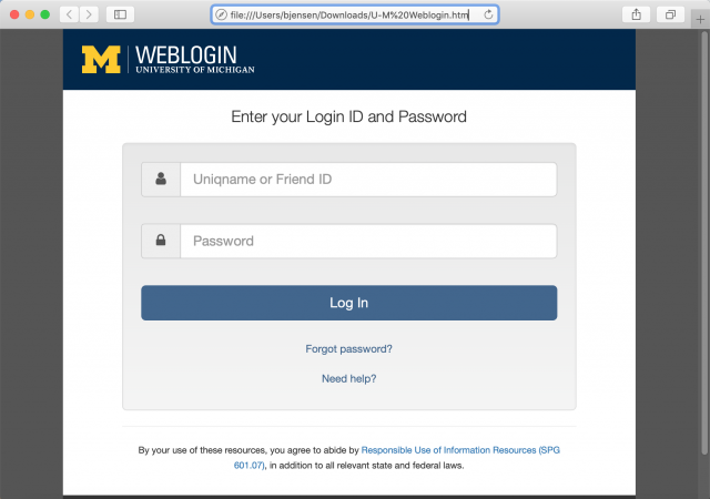 A fake U-M login page is presented by the doc attached to the phishing email.