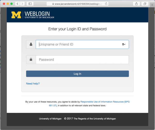A fake University of Michigan login page is presented by the link in the phishing email. You can tell it is fake by checking the URL.