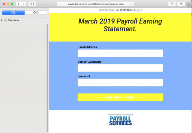 A fake payroll system login page is presented by the link in the phishing email.