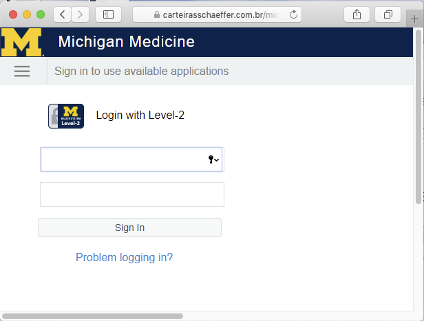 A fake Michigan Medicine login page is presented by the link in the phishing email. The  page has the wrong URL.