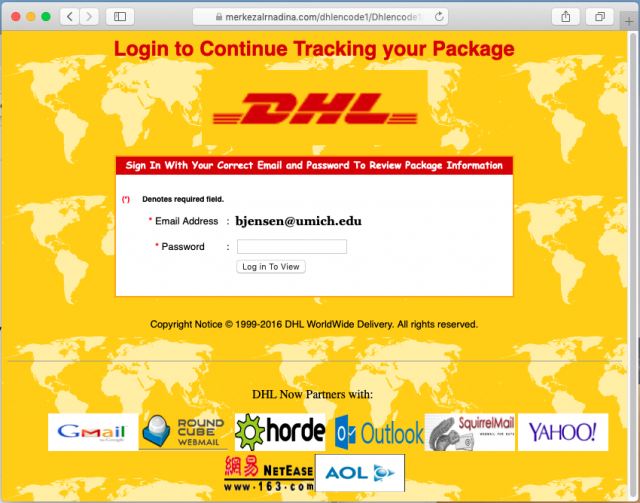 A fake DHL delivery service page is presented by the link in the phishing email.