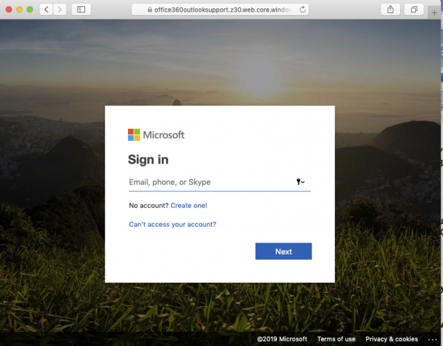 A fake Microsoft Office or Outlook login page is presented by the link in the phishing message.