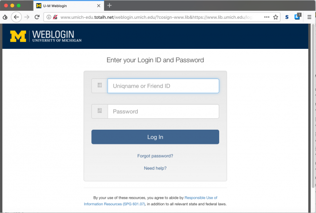A fake weblogin page with an incorrect url is presented by the link in the phishing email. The real web login page is at https://weblogin.umich.edu .
