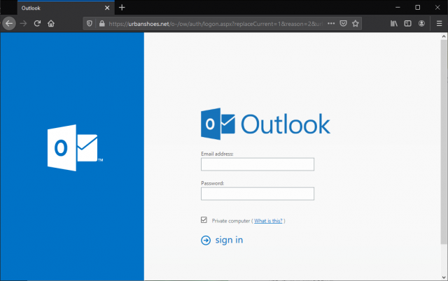 An imitation Microsoft Outlook email login page is show.