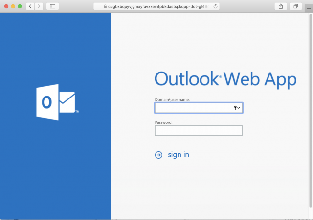 Screenshot of the fake Outlook login page. Always check the URL of a page before logging in.